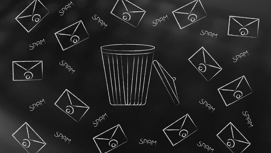 decorative image of emails going into trashcan